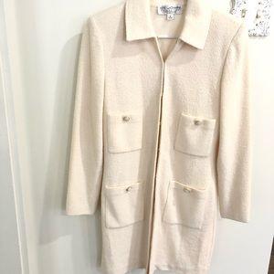 St. John by Marie Gray Ivory Long Boucle Jacket 8